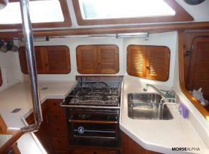 Morse Alpha Learn To Sail - galley Norseman 447 Rocinante